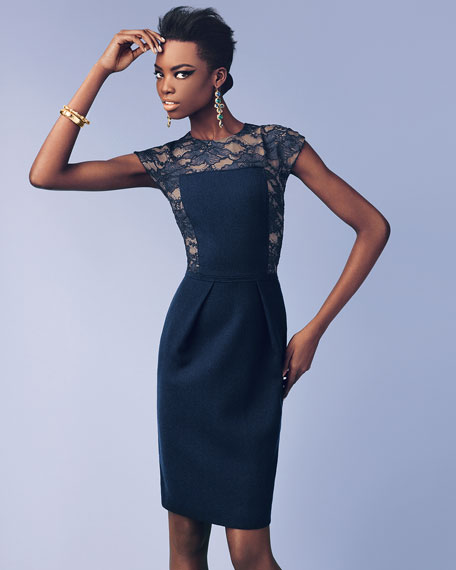 Lace-Illusion Cocktail Dress, Midnight