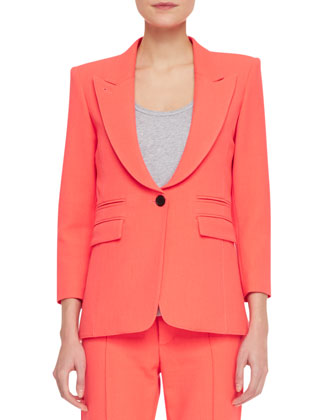Peaked-Lapel One-Button Jacket, Fluorescent Orange