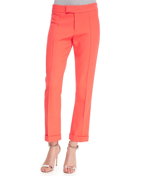 Cropped Cigarette Pants,  Fluorescent Orange