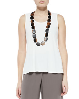 Eileen Fisher Stretch Silk Jersey Tank, Soft White