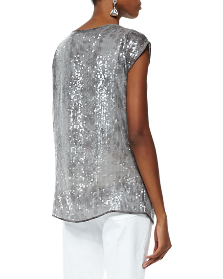 Sequin and Silk Top, Women's