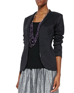 Eileen Fisher Ramie Shawl-Collar Peplum Jacket