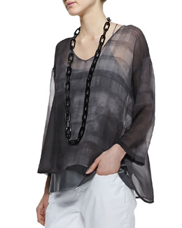 Eileen Fisher Printed Silk Chiffon Top