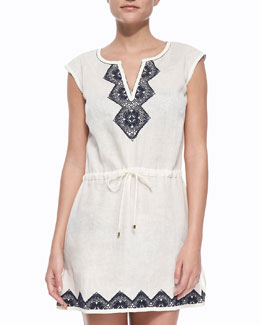 Tory Burch Margherita Cap-Sleeve Dress Coverup