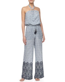 Tory Burch Baja Printed Silk Jumpsuit Coverup