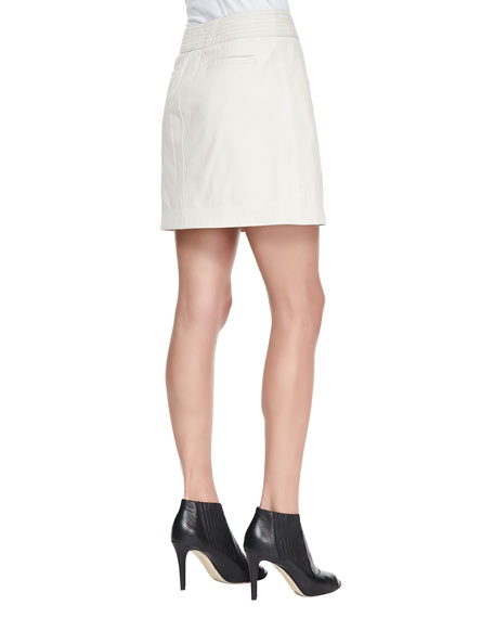 Kristol Leather Front-Zip Skirt