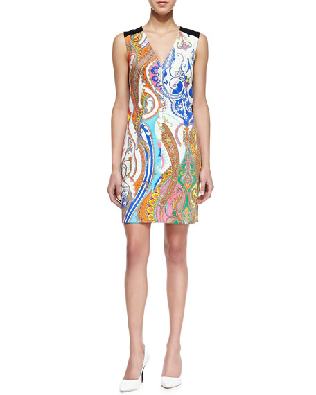Angeline Paisley-Print Sleeveless Dress
