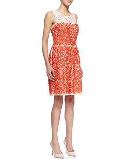 Trina Turk Camilia Ribbon & Lace Sleeveless Dress