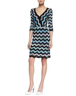 Trina Turk Harbor Three Quarter-Sleeve Sweater Dress