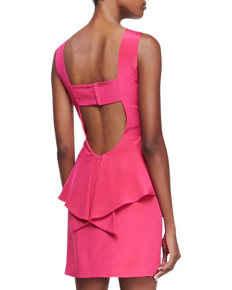 Stam Silk Back-Cutout Dress