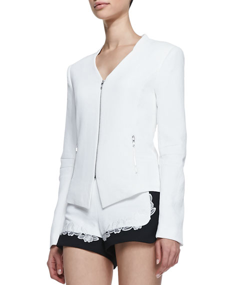 Miles Silk Zip-Front Jacket