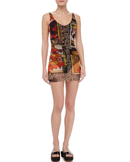 Printed Sheer-Overlay Swimdress