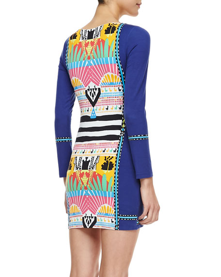 Fitted Printed Long-Sleeve Mini Dress