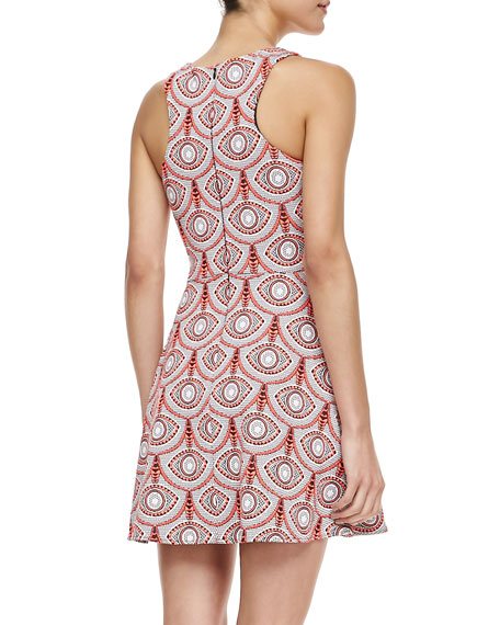 Iris Circle-Print Fit-and-Flare Dress