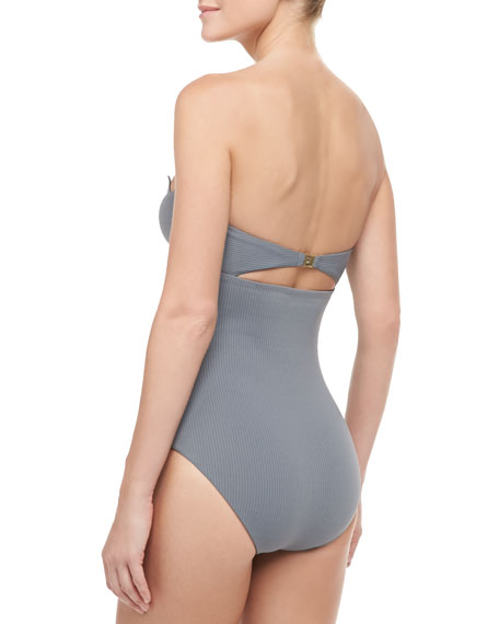 Maui Shark Attack Strapless Maillot Swimsuit, Dark Gray