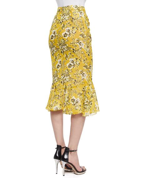 Floral-Print Ruffle-Hem Skirt