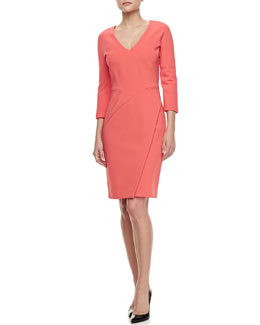 J. Mendel Jersey Draped-Skirt Dress, Raspberry