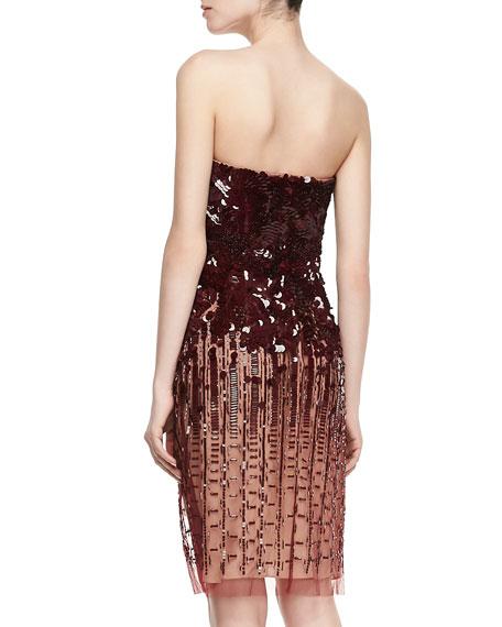 Strapless Sequined Dress, Merlot