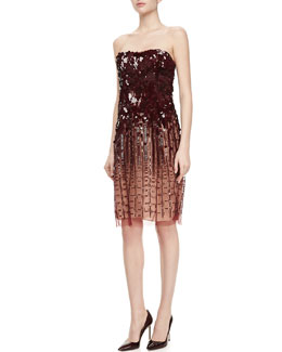 J. Mendel Strapless Sequined Dress, Merlot