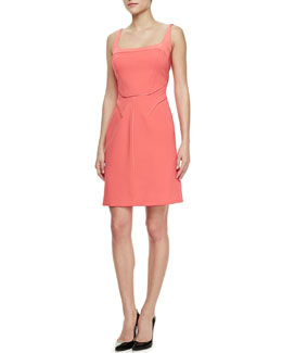 J. Mendel Pocket-Detail Square-Neck Fitted Dress
