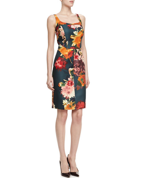 Strapless Floral-Print Silk Dress