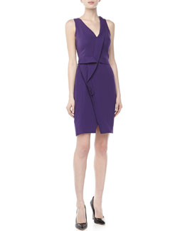 J. Mendel Sleeveless Asymmetric Pleated Dress, Violet