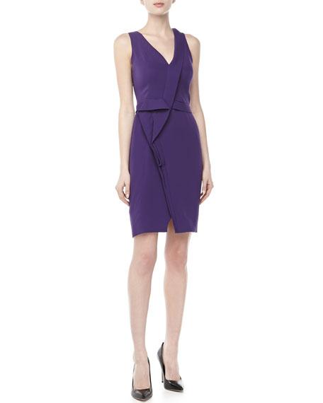 Sleeveless Asymmetric Pleated Dress, Violet