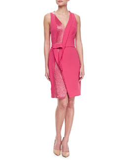J. Mendel Sleeveless Silk V-Neck Dress