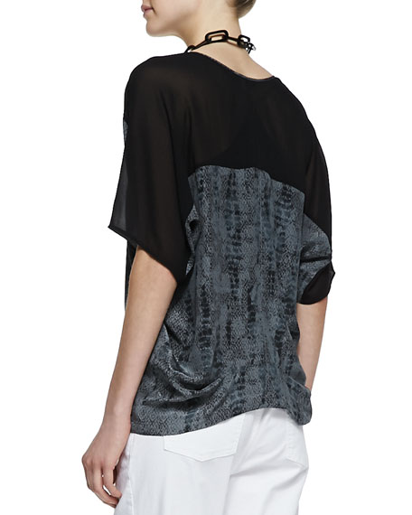 Printed Silk V-Neck Top, Women's