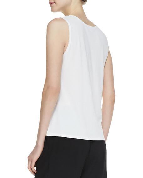 Stretch Silk Jersey Tank, Soft White