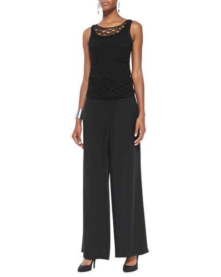 Silk Faux-Wrap Wide-Leg Pants, Black