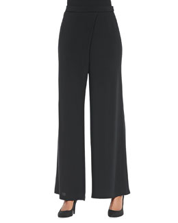 Eileen Fisher Silk Faux-Wrap Wide-Leg Pants, Black