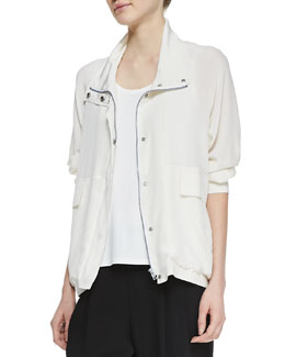 Eileen Fisher Silk Crepe de Chine Jacket
