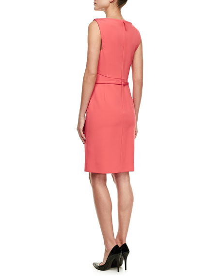 Jersey Sleeveless Sheath Dress, Raspberry