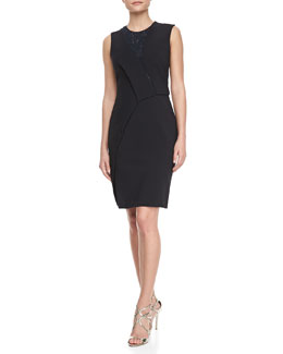 J. Mendel Asymmetric Lace-Inset Dress