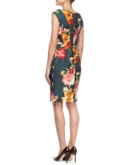 Floral-Print Gazar Cocktail Dress
