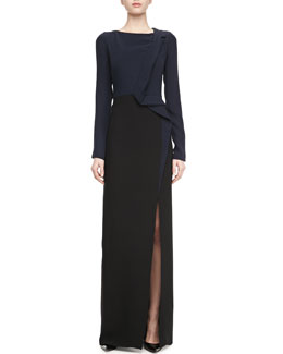 J. Mendel Long-Sleeve Slit-Front Gown, Navy/Black