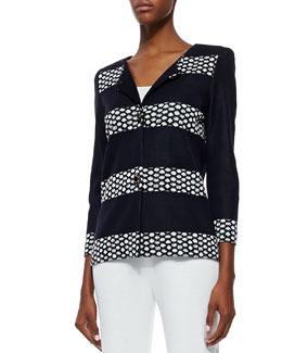 Misook Laverna Striped Crepe Jacket