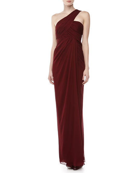 One-Shoulder Draped Gown, Merlot