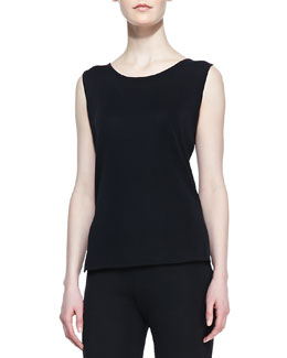 Misook Slim Scoop-Neck Tank, Black, Women's