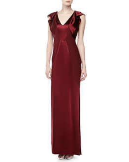 J. Mendel Ruffled Cap-Sleeve Silk Gown