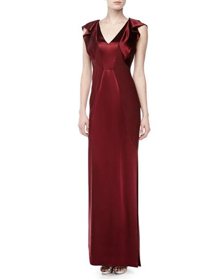 Ruffled Cap-Sleeve Silk Gown