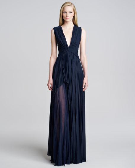 J. Mendel Sunburst Jersey Sheer-Panel Gown
