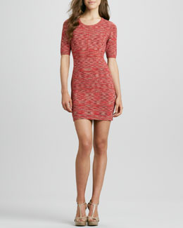 Phoebe Couture Space-Dye Knit Half-Sleeve Dress