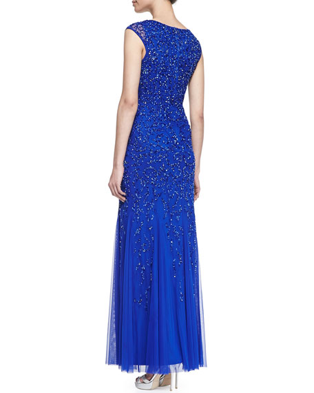 Silk with Sequined Design Gown