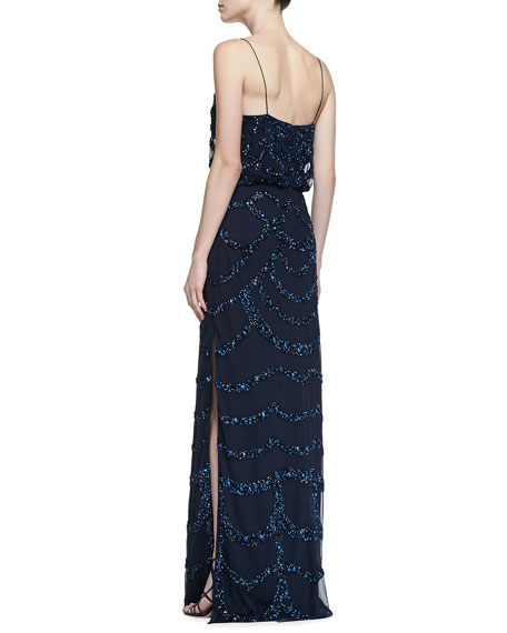 Beaded Thin-Strap Blouson Gown