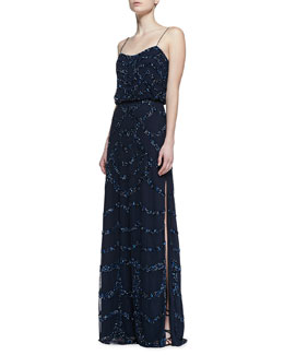 Aidan Mattox Beaded Thin-Strap Blouson Gown
