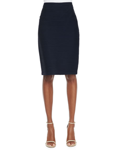 Pintucked Pencil Skirt, Navy
