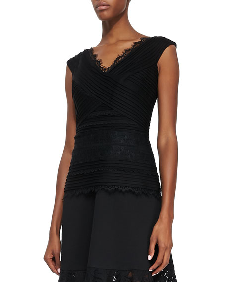 V-Neck Cap-Sleeve Lace Top
