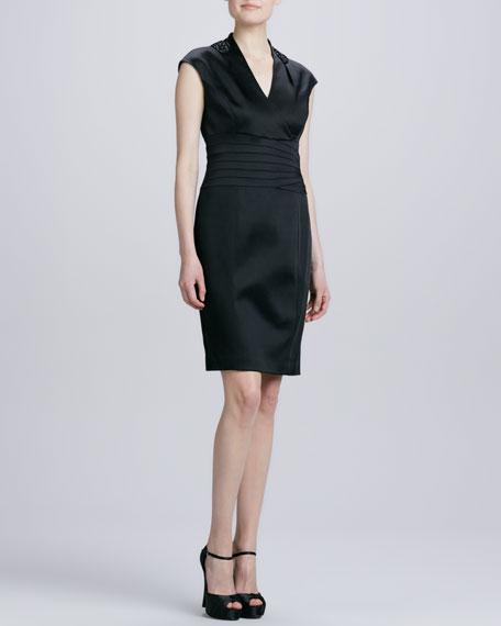Cap-Sleeve Waistband Cocktail Dress